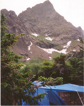 OUR CAMPSITE WITH CRESTONE NEEDLE IN THE BACKGROUND